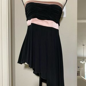 Bebe Black Strapless Asymmetrical Tunic